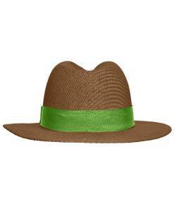 Лятна шапка тип бомбе - цвят Нуга / Лайм-Зелено