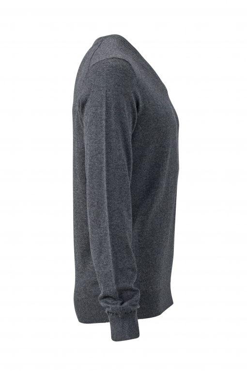 Мъжки копринено-кашмирен пуловер - цвят Антрацит-Меланж