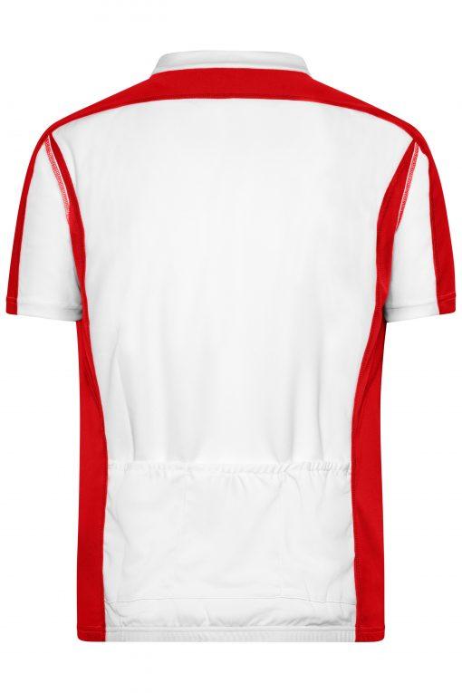 Мъжка тениска за колоездене - цвят Бяло/Червено