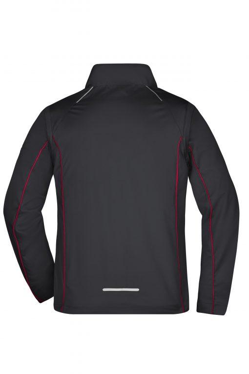 Мъжко софтшел яке с цип ръкави - цвят Черно/Червено