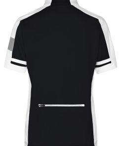 Дамска тениска за колоездене с цип - цвят Черен